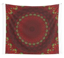 Mandala in red color with green accents Wall Tapestry