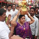 Woman with God Cup at Hindu Festival by Andrew  Makowiecki