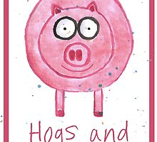 Pig Celebration/Greetings Card by Francesca  Fearnley