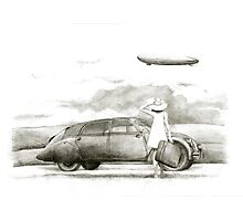 airship and a woman Photographic Print