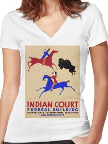 Vintage poster - Indian Court Federal Building Women's Fitted V-Neck T-Shirt
