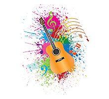 Acoustic Guitar with Paint Splatter Illustration Photographic Print