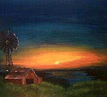 Landscape of Barn at Sunset by careball