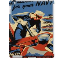 Vintage poster - Build for your Navy! iPad Case/Skin