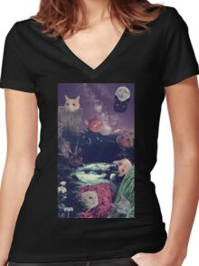 cat surprise Women's Fitted V-Neck T-Shirt