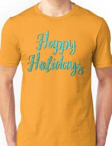 Tiffany Aqua Glitter Text Happy Holidays Unisex T-Shirt