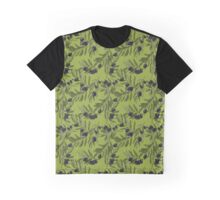 Black Olives Pattern Green Graphic T-Shirt