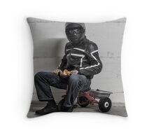 Ironic Biker Throw Pillow