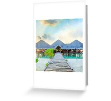 Tropical paradise,water colors,hand painted,sea shore,sand beach Greeting Card
