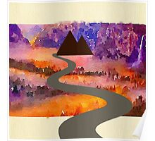 Abstract,water color,hand painted,landscape,mixed media Poster