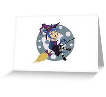 Happy Cat Witch Greeting Card