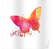 Polygonal,polygon,colorful,butterfly,red,orange,yellow,pink Poster