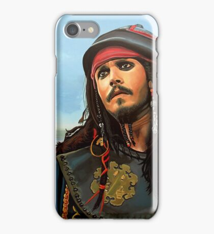 Johnny Depp as Jack Sparrow Painting iPhone Case/Skin
