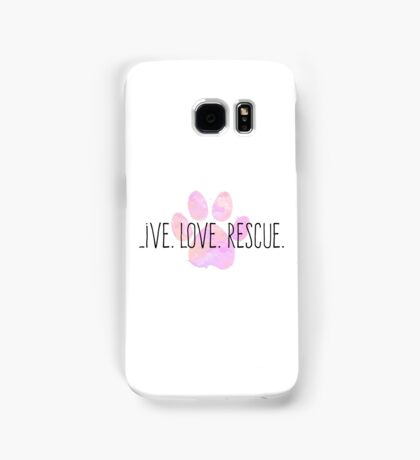 Live. Love. Rescue Pink Watercolor Paw Samsung Galaxy Case/Skin
