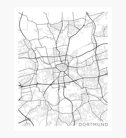 Dortmund Map, Germany - Black and White Photographic Print
