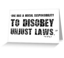 Martin Luther King Unjust Law Protest Quote Greeting Card