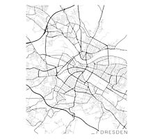 Dresden Map, Germany - Black and White Photographic Print