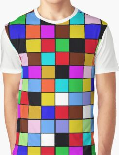 Checkerboard Color Blocks Abstract Pattern Graphic T-Shirt