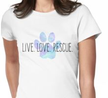 Live. Love. Rescue. Blue Dog Paw Womens Fitted T-Shirt