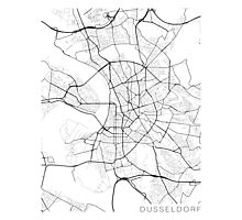 Dusseldorf Map, Germany - Black and White Photographic Print