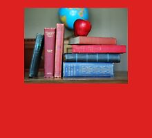 Classic Books with a Red Apple Womens Fitted T-Shirt