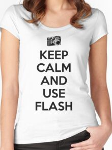 Keep calm and use flash Women's Fitted Scoop T-Shirt