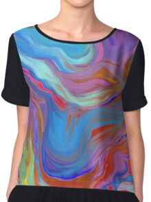 AGATE OIL PAINTING: MYSTERIOUS BLUES Chiffon Top