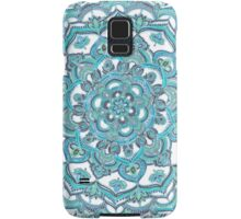 Summer Bloom - floral doodle pattern in turquoise & white Samsung Galaxy Case/Skin