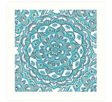 Summer Bloom - floral doodle pattern in turquoise & white Art Print
