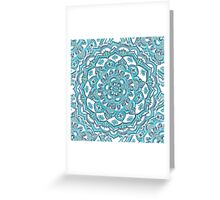 Summer Bloom - floral doodle pattern in turquoise & white Greeting Card