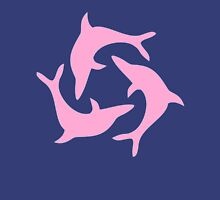 (RinHaru) Pink Dolphins Womens Fitted T-Shirt
