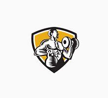 Athlete Lifting Kettlebell Dumbbell Crest Woodcut Unisex T-Shirt