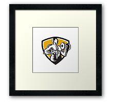 Athlete Lifting Kettlebell Dumbbell Crest Woodcut Framed Print
