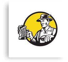 Bavarian Beer Drinker Mug Circle Woodcut Canvas Print