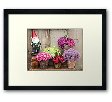 Still Life with Flowers & a Gnome Framed Print