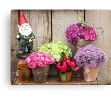 Still Life with Flowers & a Gnome Canvas Print