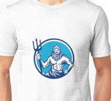 Poseidon Trident Circle Woodcut Unisex T-Shirt