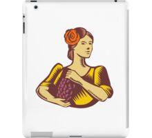 Senorita Holding Grapes Woodcut iPad Case/Skin