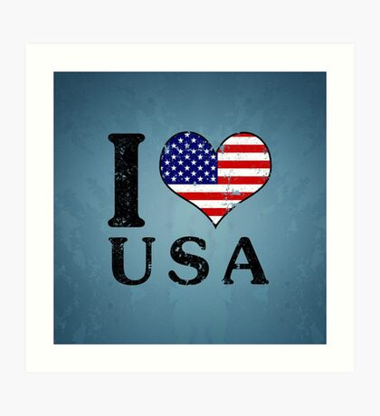 I LOVE USA (black) Art Print