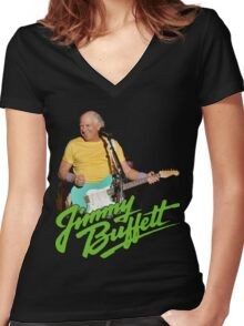 SAN01 Jimmy Buffett and the Coral Reefer Band TOUR 2016 Women's Fitted V-Neck T-Shirt