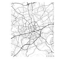 Essen Map, Germany - Black and White Photographic Print