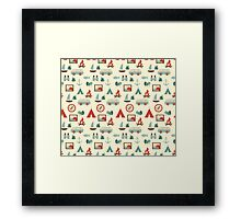 Simple abstract seamless tourist pattern Framed Print