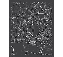 Hamburg Map, Germany - Gray Photographic Print