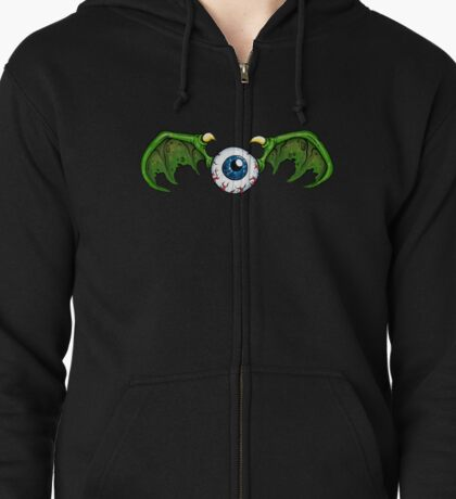 Demon Winged Eyeball Zipped Hoodie
