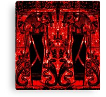 Egyptian Priests and Cobras in Red and Black I Canvas Print