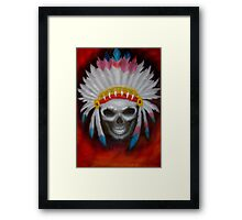 american indian chief skull Framed Print