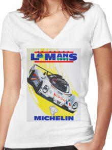 """LE MANS"" Vintage Grand Prix Auto Racing Print Women's Fitted V-Neck T-Shirt"