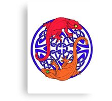 Celtic Crested Geckos In Blue With red and Orange geckos (white background) Canvas Print