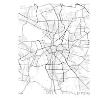 Leipzig Map, Germany - Black and White Photographic Print