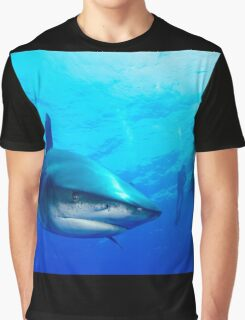Close Shark with Scuba Diver Graphic T-Shirt